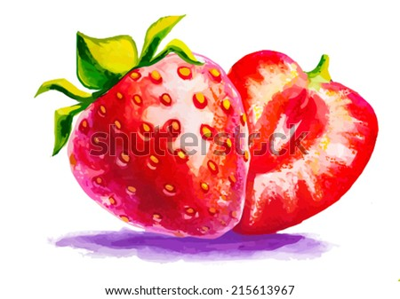 Watercolor strawberry - stock vector
