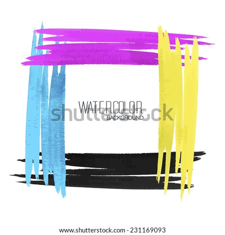 watercolor strokes on white paper - stock vector