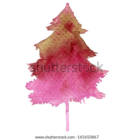 Watercolor-style vector fir tree isolated on white. - stock vector