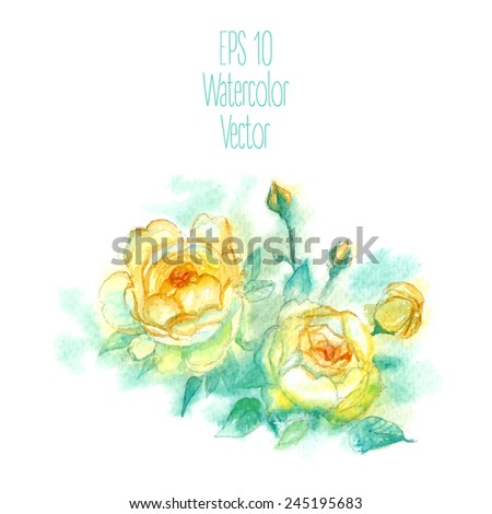 Watercolor-style vector illustration of Rose. - stock vector