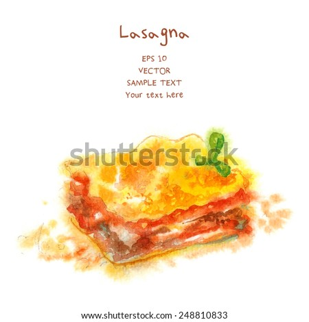 Watercolor-style vector painted italian food. - stock vector