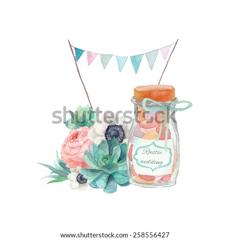 Watercolor succulents wedding style art. Seamless rustic combination with objects: plants, flags garland, peony, candy bottle, anemone, succulent. Hand painted vintage set.  - stock vector
