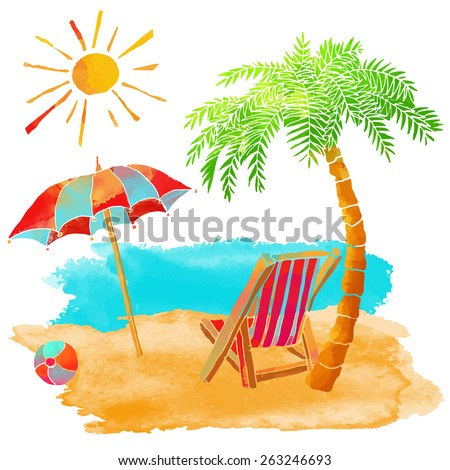 Watercolor summer beach set. Sea, palm tree, sun, sun umbrella, ball, deck chair, sand isolated on white background  - stock vector