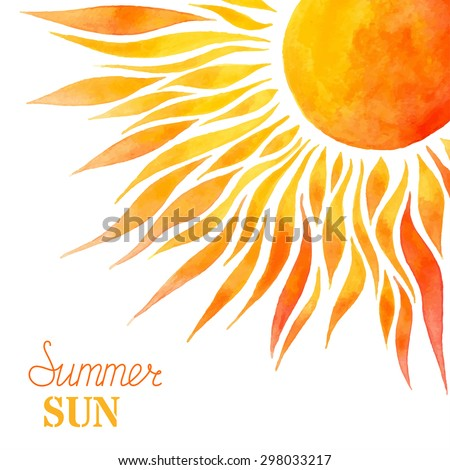 Watercolor summer sun background. Bright hand-painted sun in right corner on white background. There is place for your text. - stock vector