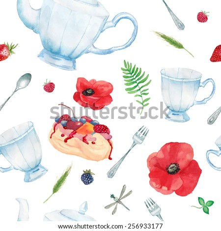 Watercolor summer tea time pattern. Hand painted seamless background with vintage cup, teapot, spoon, meringue cake, berries, poppy flowers, dragonfly and botany elements. Vector texture - stock vector