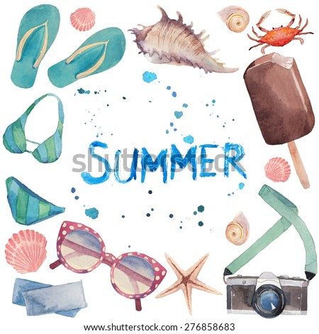 Watercolor summer vacation frame. Hand drawn round card background with tourism objects: sunglasses, photo camera, sea shells, flip flop shoes, swimwear, ice cream, crab and lettering - stock vector