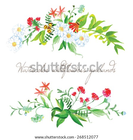 Watercolor summer wildflowers garlands vector design elements. Two floral decorative bands. - stock vector