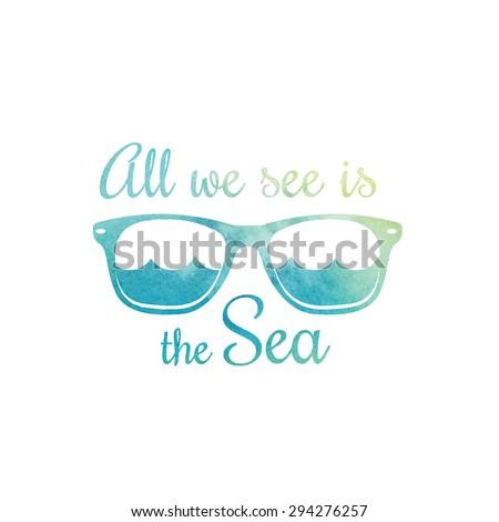 Watercolor sunglasses. Watercolor sea waves. Surf t shirt design. Surfing t-shirt graphics, print. Vector illustration. - stock vector