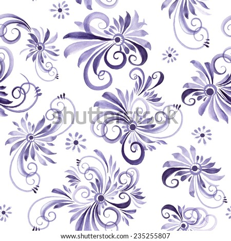 watercolor swirls seamless vector pattern - stock vector