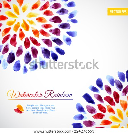 Watercolor template with colorful rainbow brushstrokes and splashes - stock vector