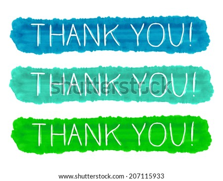 Watercolor thank you vector sign isolated on white background. Hand drawn painting. - stock vector
