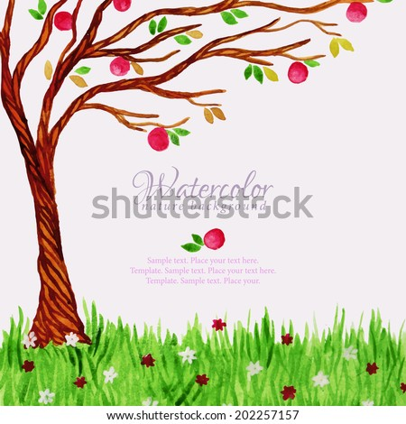Watercolor tree with red apples and grass with flowers - stock vector