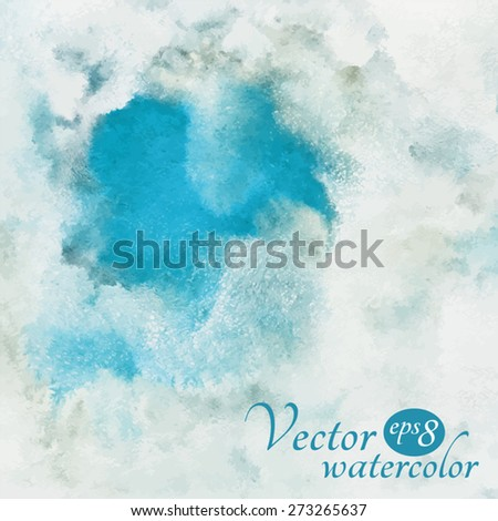 Watercolor vector background. A piece of heaven surrounded by clouds. Blue sky, shades of white. Painted backdrop with space for text. Fresco imitation.  - stock vector