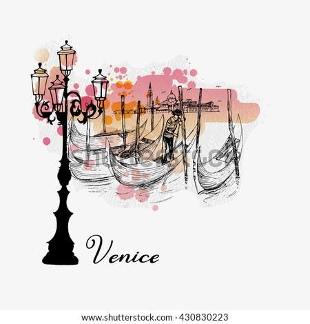 Watercolor vector background of Venice - stock vector