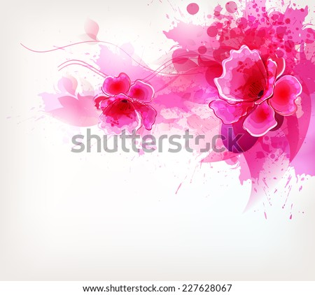 Watercolor vector background with Colorful flower and blots - stock vector
