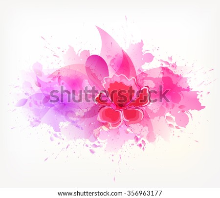 Watercolor vector background with colorful flowers. Abstract floral elements . - stock vector