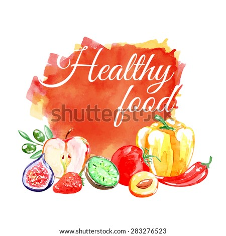 Watercolor vector banner with fruits, vegetables, berries. Kiwi, apple, figs,  strawberries, apricot, olives, pepper, tomato. Vegetarian food. Healthy food. Pepper. Isolated elements for easy use. - stock vector