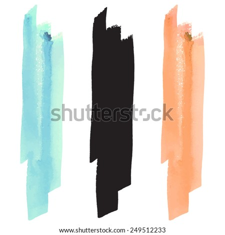 Watercolor vector brush stroke, black silhouette and pastel colors - turquoise and orange  - stock vector