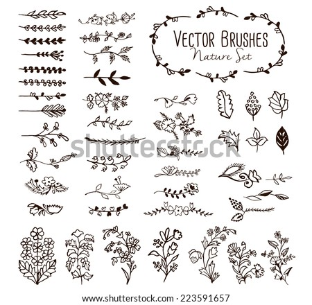 Watercolor vector brushes and decor elements - stock vector