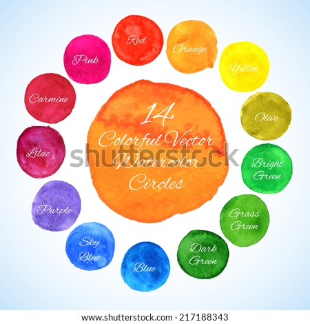 Watercolor vector circles. Colorful template for your design - stock vector