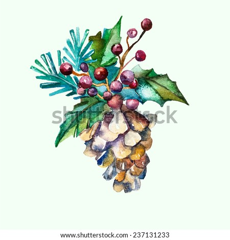 Watercolor vector fir-cone with fir branches and twigs of rowan. Separate vector object. - stock vector