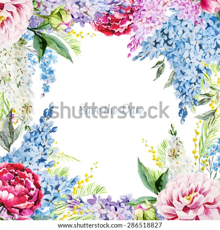 watercolor  vector frame with flowers lilacs, peonies, card - stock vector