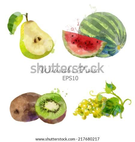 Watercolor vector fruits set of watermelon, pear, grape and kiwi - stock vector
