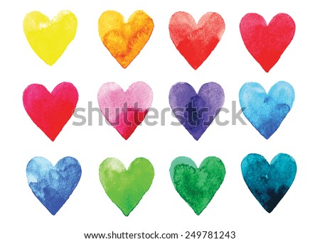 Watercolor vector hearts - stock vector