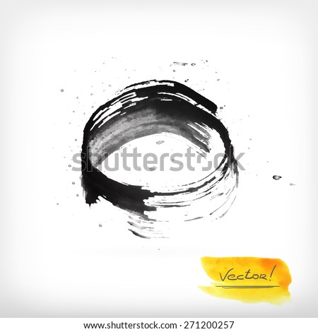 Watercolor vector illustration or banner with black round and yellow soft brush strokes on gray background. - stock vector