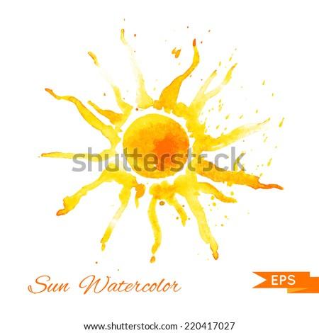 Watercolor vector illustration. Sun. - stock vector