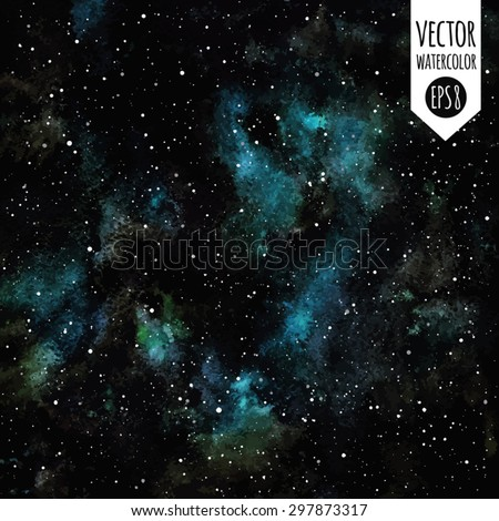 Watercolor vector night sky with stars. Fantastic cosmic background. Black, emerald and blue stains. Stars are removable. - stock vector