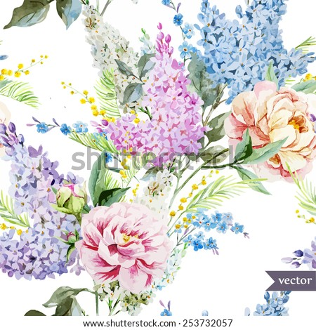 watercolor, vector, peonies, lilac, mimosa, pattern, wallpaper, vintage, gentle - stock vector