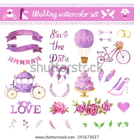 Watercolor vector set. Love design elements isolated. Save the date card. Wedding invitation card template. Wedding set, hearts, wreaths, ribbons, cake, coach, balloon, ring, bicycle and labels. - stock vector
