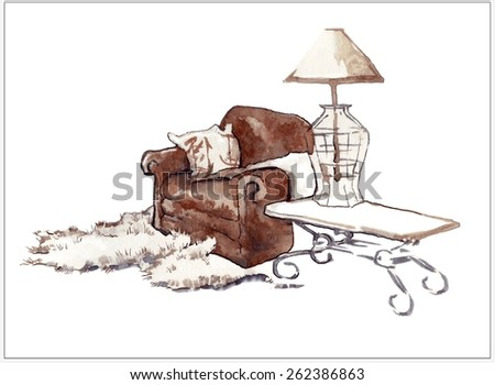 Watercolor vector sketch of old armchair - stock vector