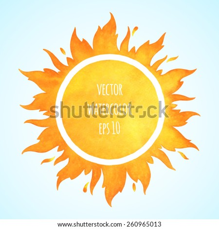 Watercolor vector sun with crown and sparks. Fire circle frame. Sun shape or flame border with space for text. - stock vector