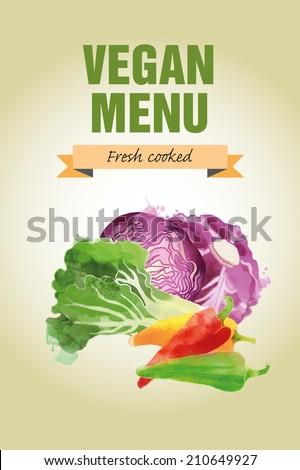 Watercolor vector vegetables background. Vegan menu  - stock vector
