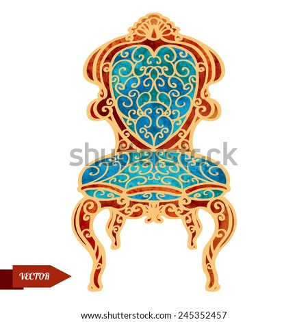 Watercolor vector vintage armchair, throne with pattern closeup isolated on a white background - stock vector