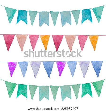 Watercolor vintage flags garlands set in vector. Party and wedding decor elements - stock vector
