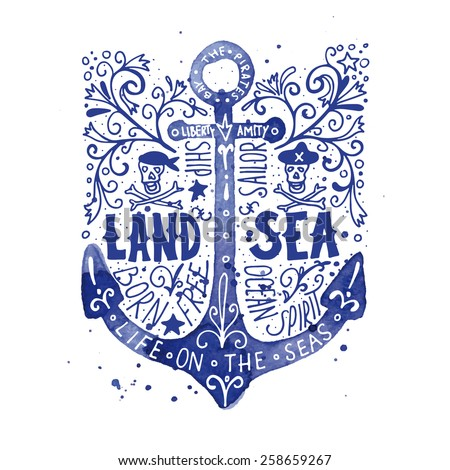 Watercolor vintage label with an anchor - stock vector