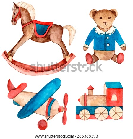 Watercolor vintage set of toys. Hand drawn rocking horse, teddy bear, model plane, puffer, Retro vector baby objects for your design. - stock vector