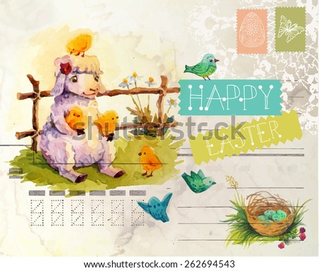 Watercolor vintage style Easter card with sheep - stock vector