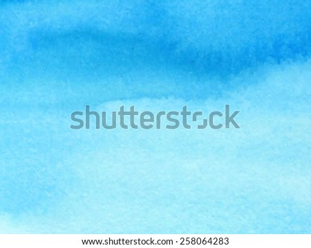 Watercolor water blue paper texture hand drawn background. Wet brush strokes and smudges painted vector abstract illustration. Sky cloud wallpaper. Design striped art card for decor, scrapbook, banner - stock vector