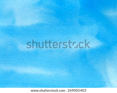 Watercolor water blue paper texture hand drawn striped background. Abstract vector wet brush painted illustration. Smudges and strokes design card for cover, banner, scrapbook, decoration, print - stock vector