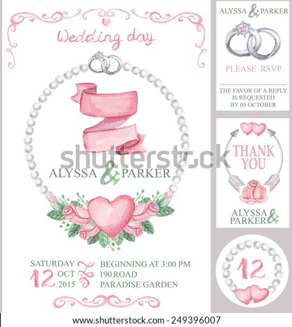Watercolor wedding  invitation card set with floral group of pink roses.Cute vintage elements,swirls,wreaths,hearts,rings,pearls,arrows.Hand drawing painting.Vector  - stock vector