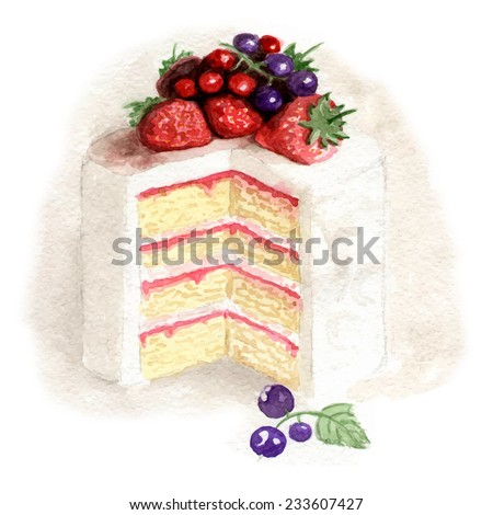 Watercolor white cake with fruits - stock vector