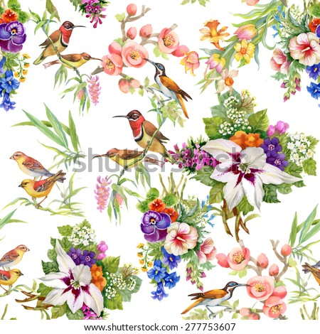 Watercolor Wild exotic birds on flowers seamless pattern on white background vector illustration - stock vector