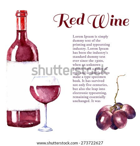 Watercolor wine design elements: wine glass, wine bottle, grape with place for text. Vector illustration. - stock vector