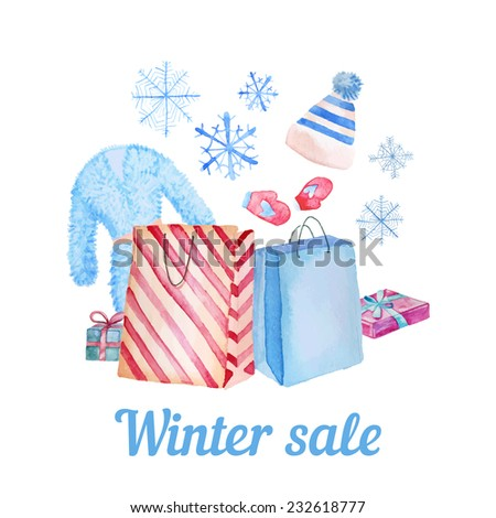 Watercolor Winter Sale card. Hand drawn shopping illustration with package, hat, gift box, snowflakes, fur coat and mittens. Vector fashion objects isolated on white background. - stock vector