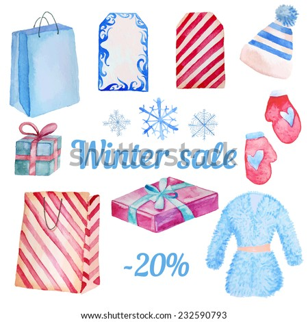 Watercolor Winter Sale objects isolated on white background. Hand drawn shopping illustration with package, hat, gift box, snowflakes, labels, fur coat and mittens.  - stock vector