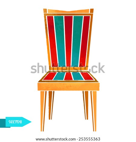 Watercolor  wooden furniture, modern chair closeup isolated on a white background - stock vector